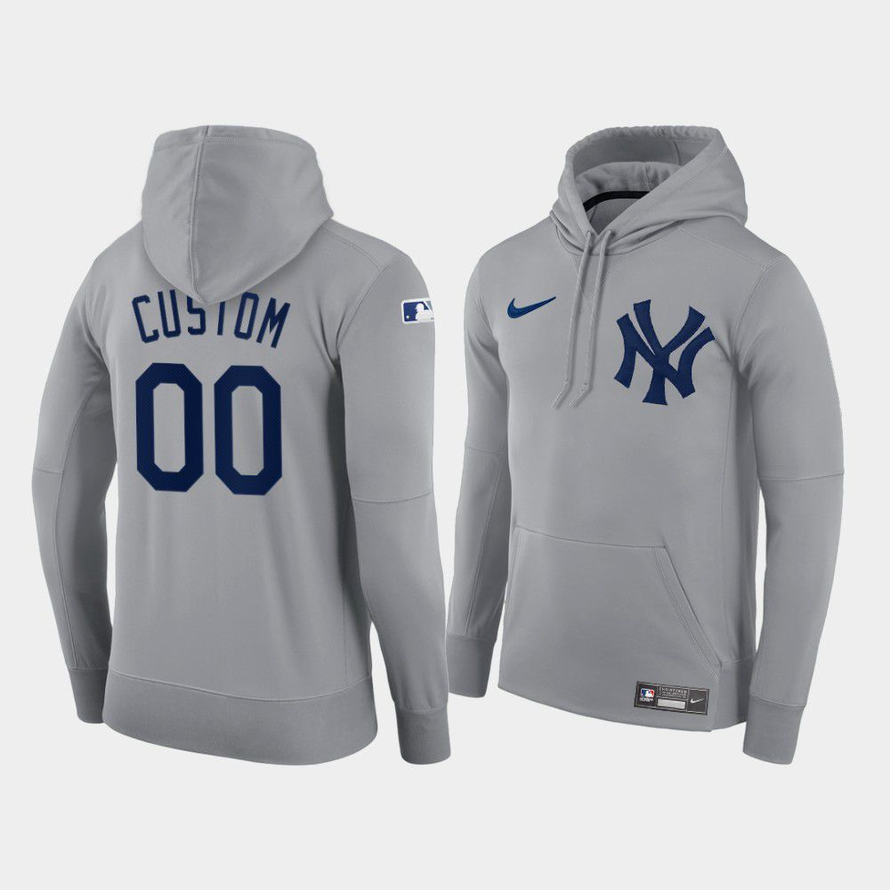 Cheap Men New York Yankees 00 Custom gray hoodie 2021 MLB Nike Jerseys